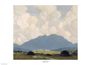A cloud filled sky takes up half the painting with a muted mountain silhouette taking up another third of the image. A handful of small cottages are visible in the distance standing out against the dark of the distant mountain. The painting is surrounded by a white border with its name and painter at bottom centre.