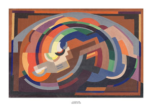 An abstract images of various shapes making a curved shape. It is primarily in shades of orange but with some blue and green as well. The painting is surrounded by a white border with its name and painter at bottom centre.