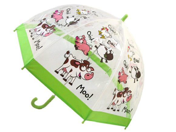 An open umbrella with a clear canopy. Each panel has a cartoon of a cow saying moo, a pig saying oink, a sheep saying baa, and a chicken saying cluck. The edge is green.
