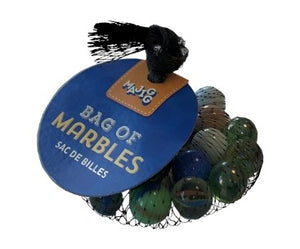 A black net bag with different coloured marbles inside. A large blue label says 'Bag of Marbles'.