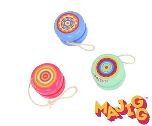 Three wooden yo-yos, each a different colour, pink, blue, and light green, with a colourful pattern in the centre.