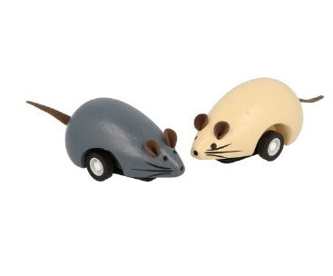Two simple, wooden mice, one grey and one cream. They have a visible wheel on either side.