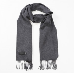 A plain charcoal scarf with a fringe across either end.