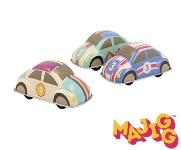 Three small, toy tin cars in different pastel colour and stripe combinations.