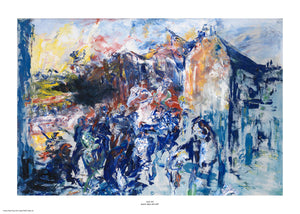 Painted primarily in shades of blue with strokes of red and yellow, the figures in this expressionist painting are evoked through loose shapes and visible strokes. The style of painting has visible brush strokes and paint texture. The painting is surrounded by a white border with its name and painter at bottom centre.