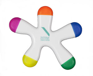 A white marker shaped like a splat. Each of the five arms ends in a different colour: orange, blue, green, yellow, and pink. The Gallery logo is in the centre.