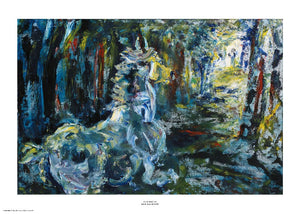 A loose, expressionist painting of a horse running through a dark woods. Primarily painted in blue, black and white, there are touches of yellow and red. The style of painting has visible brush strokes and paint texture. The painting is surrounded by a white border with its name and painter at bottom centre.