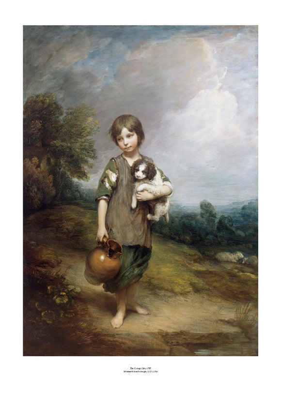 A young girl with short hair and ragged clothes stands in a classic landscape. She holds a jug in one hand and a small dog in her other arm. The painting is surrounded by a white border with its name and painter at bottom centre.