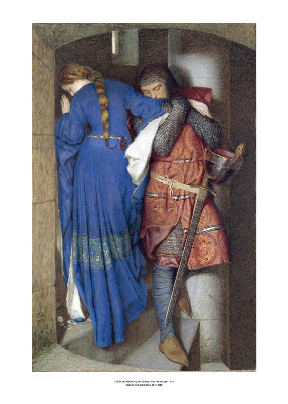 A man in mail and a woman in blue stand on a castle staircase. The woman has her back to the viewer and her face turned from the man as they walk in opposite directions. He is embracing her arm as he descends. The painting is surrounded by a white border with its name and painter at bottom centre.