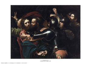 A dark scene where a group of men, primarily soldiers, are looking and moving towards a man, Jesus, on the left. One of the men, Judas, is leaning in to kiss Jesus on the cheek. The painting is surrounded by a white border with its name and painter at bottom centre.