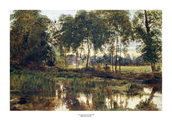 A classic landscape painting of a still river, flowing towards the viewer, with trees along the bank primarily in shades of green and brown. The painting is surrounded by a white border with its name and painter at bottom centre.