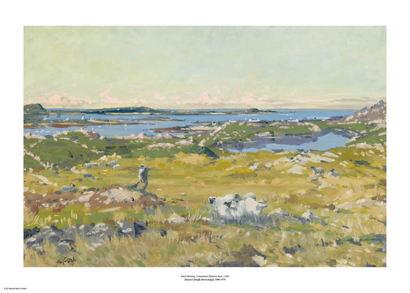 An impressionist style painting of green fields that leads to the sea in the background, with peninsulas in the distance. There is a small group of sheep in the foreground. The painting is surrounded by a white border with its name and painter at bottom centre.