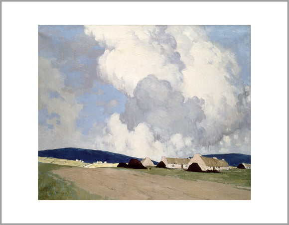 A cloud filled sky takes up the top two thirds of the painting. There are small number of thatch cottages in the bottom right on a simple landscape.