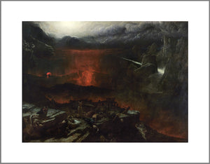 A large apocalyptic scene with dark clouds and the earth being split by red lava dominate the painting. In the foreground on a rocky outcrop people cower while a freed slave stands, arms raised to the sky.