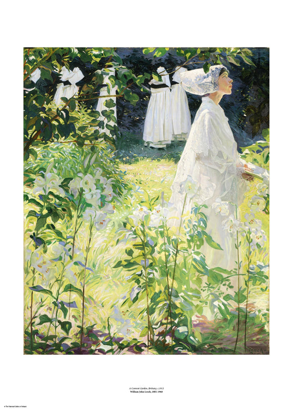 A woman in white walks towards the right of the painting. White, long stemmed lilies dominate the foreground and up the left side of the image, effectively framing the woman. The painting is surrounded by a white border with its name and painter at bottom centre.