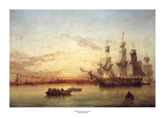A classical painting of large old fashioned ship with open sails at sunset. In the foreground two row boats with passengers are moving towards the ship. The painting is surrounded by a white border with its name and painter at bottom centre.