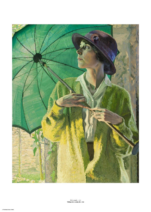 A woman in a loose yellow cardigan looks off to the side while holding a large green umbrella open over her shoulder. The painting is surrounded by a white border with its name and painter at bottom centre.