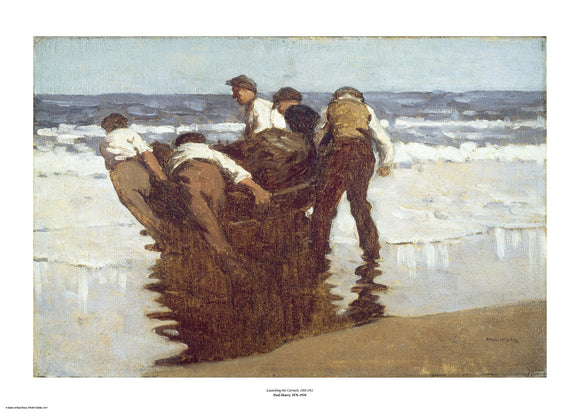 In the shallows on a beach a group of men in brown and white drag a small boat towards the sea. The painting is surrounded by a white border with its name and painter at bottom centre.