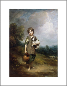 A young girl with short hair and ragged clothes stands in a classic landscape. She holds a jug in one hand and a small dog in her other arm.