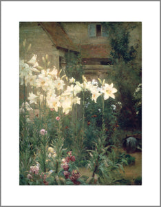 A garden at the back of a house with tall white lilies taking up most of the painting. The flowers almost seem to glow against the subdued greens and browns of the rest of the image.