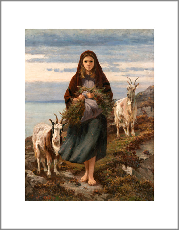 A classic style painting of a young woman standing barefoot on a rugged hillside. She wears a red shawl over her head and holds a large bundle of plants gathered in her apron. She is flanked on both sides by horned goats.