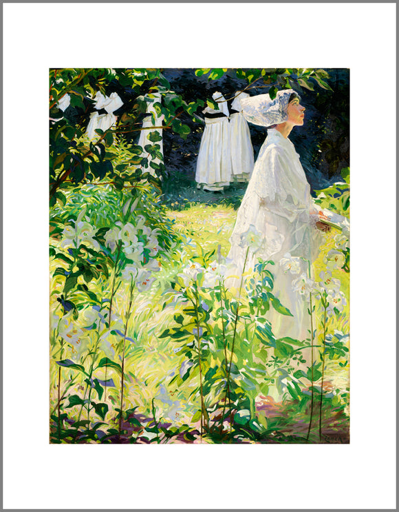 A woman in white walks towards the right of the painting. White, long stemmed lilies dominate the foreground and up the left side of the image, effectively framing the woman.