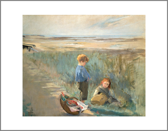 Children on the Sand Dunes, Grandcamp Canvas Print