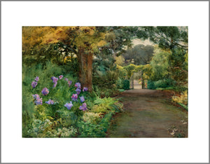 To the right a large garden path leads to an open gate. The left of the scene is taken up by greenery, a large tree and purple flowers.