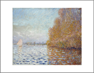 An impressionist painting of a light blue sky and matching coloured lake. The right of the image is dominated by a large tree in autumn oranges which reflects into the water. On the left is a small boat with its white sail open.