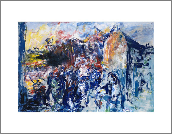 Painted primarily in shades of blue with strokes of red and yellow, the figures in this expressionist painting are evoked through loose shapes and visible strokes. The style of painting has visible brush strokes and paint texture.