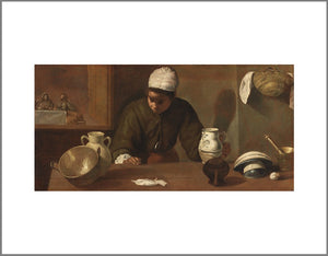 A woman stands behind a table with kitchen ware on it. She appears to be listening to the people who sit in a room through a door behind her. The classical painting is mainly in shades of brown.
