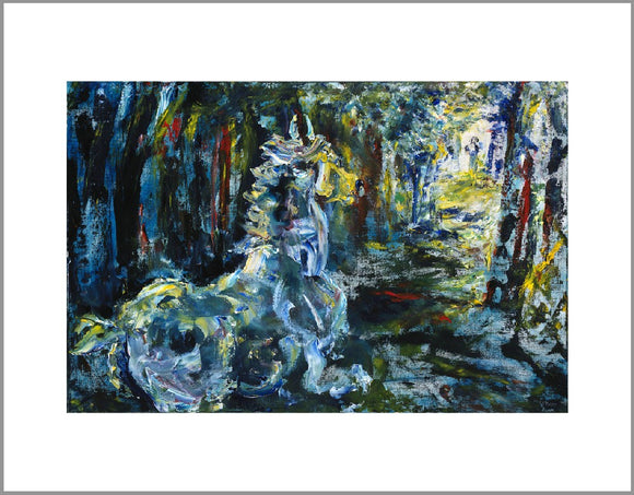 A loose, expressionist painting of a horse running through a dark woods. Primarily painted in blue, black and white, there are touches of yellow and red. The style of painting has visible brush strokes and paint texture.