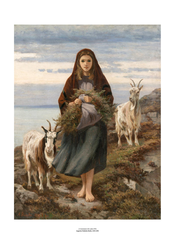A classic style painting of a young woman standing barefoot on a rugged hillside. She wears a red shawl over her head and holds a large bundle of plants gathered in her apron. She is flanked on both sides by horned goats. The painting is surrounded by a white border with its name and painter at bottom centre.
