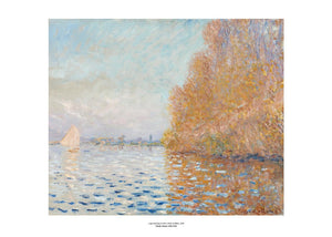 An impressionist painting of a light blue sky and matching coloured lake. The right of the image is dominated by a large tree in autumn oranges which reflects into the water. On the left is a small boat with its white sail open. The painting is surrounded by a white border with its name and painter at bottom centre.