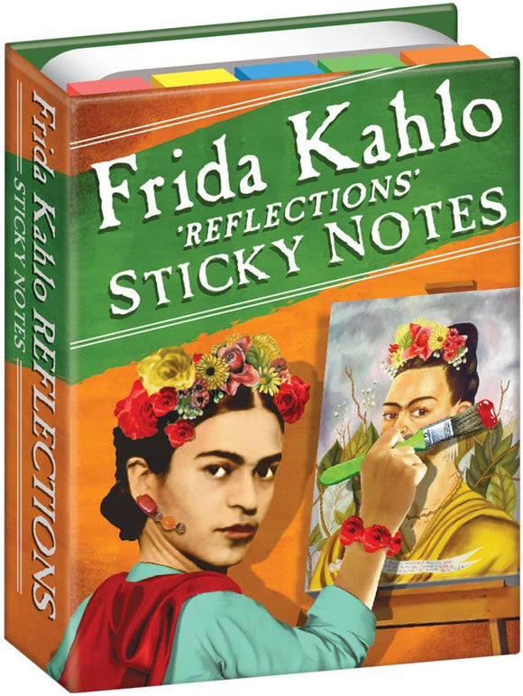 A book stands upright. On the cover is a woman with flowers in her hair, Kahlo, holding a paintbrush to a self portrait. The title is across the top in green and white. The title is also written along the spine.