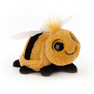 A soft toy bee with large gold and black eyes. It has a tuft of yellow hair at the top of its head.