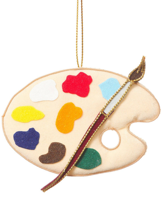 A small felt paint palette with colours and a paintbrush attached, hanging from a gold thread.
