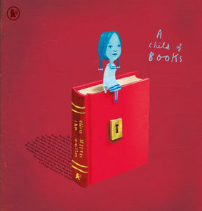 A dark red background with an illustration of a red book in the centre. It is upright with a gold lock in the centre. A blue drawing of a girl sits atop the book. The title is to the left in blue cursive.