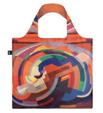 An abstract image of various shapes making a curved shape on a bag. It is primarily in shades of orange but with some blue and green as well.