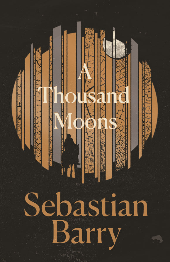 A black cover with a circle in the centre made up of different bars of gold and silver, with a silhouette of a figure on a horse against it. The title is in the white in the centre. The author is underneath in gold.