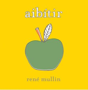 A yellow background with an illustration of a green apple in the centre. The title is across the top in white lower case letters.