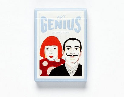 A white box with a blue trim and 'Art Genius' in the same blue. An illustration of Yayoi Kusama and Salvador Dalí is below the title.