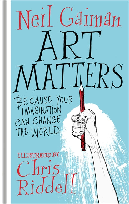 A light blue cover with white spine. A drawing of a white hand holding a pencil in the air is in the bottom right. The title is in black while the author and illustrator are in red.