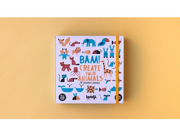 A white box covered in simple stamped images of different animals in different colours. The title is in the centre in blue and yellow, with a matching yellow elastic closure.