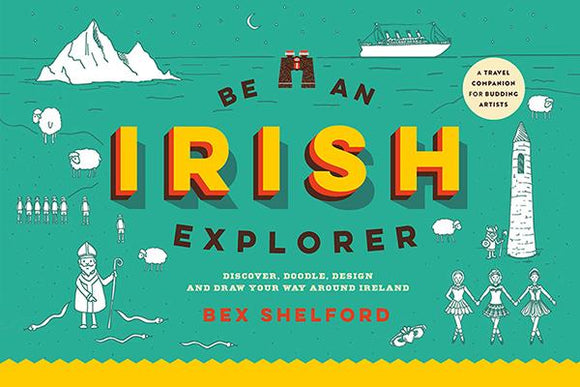 A green background with white illustrators around the edges of Irish things such as sheep, Irish dancers, and St. Patrick. The title is in the middle with 'Irish' in big, yellow letters in the centre.