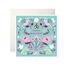 Beetle Birthday Turquoise Card