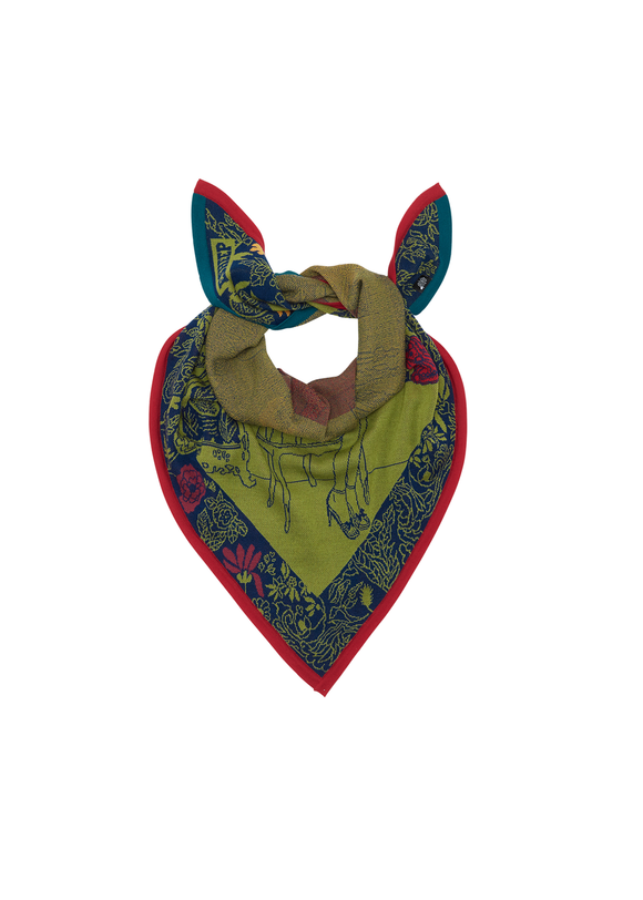 A knitted scarf tied as a bandana. Mainly khaki green with a floral border in navy and pink, and a red outer border.