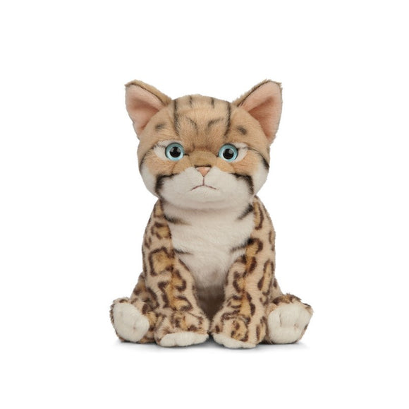 A soft, light brown toy kitten with a leopard like pattern across its body.