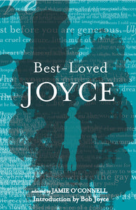 A blue cover with lots of overlapping words and sentences in white. Down the centre is overlapping ink blots with a matching blue silhouette of Joyce in the centre. The title is across the top in white.