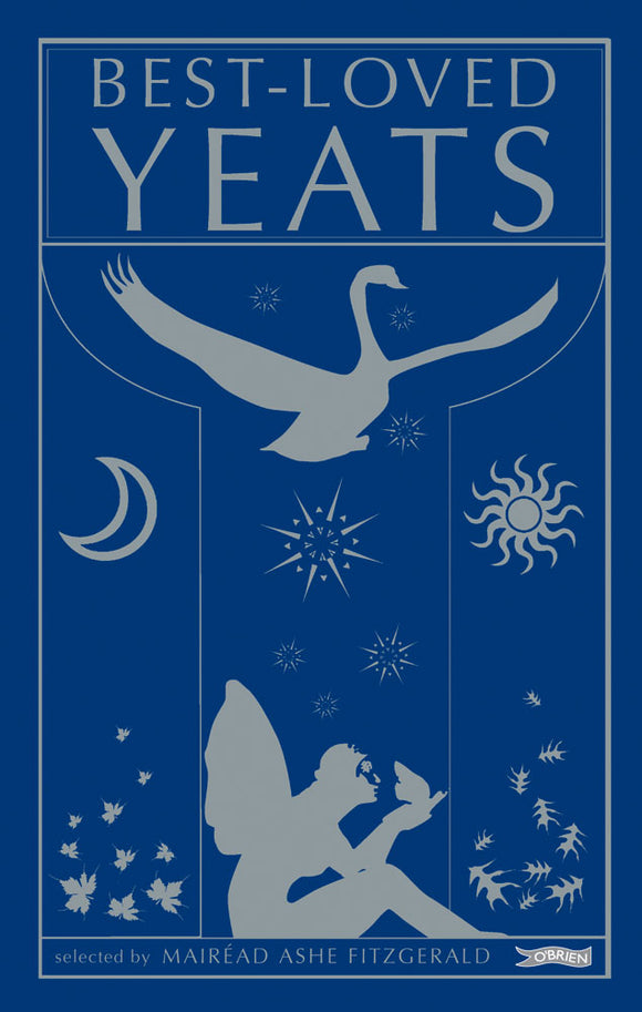 A dark blue cover with a silver silhouette of a fairy sitting down with a flying swan silhouette above. There are leaves and stars scattered around. The title is across the top in silver.